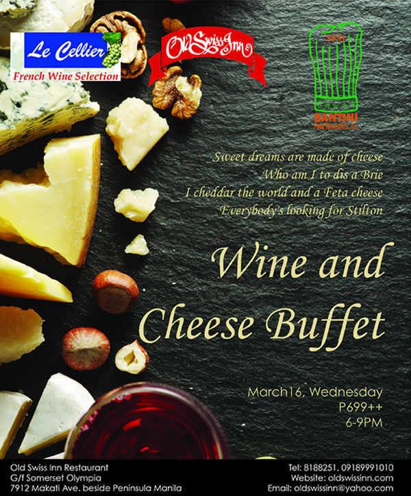 wine and cheese table top